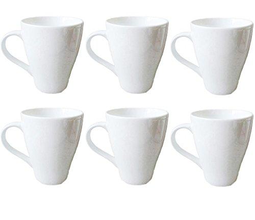 Amuse- Porcelain Gourmet White Coffee and Tea Mug Set- (Set of 6) 12 oz