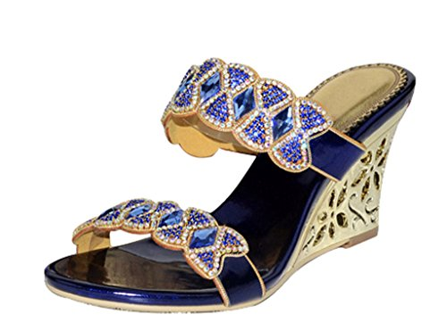 Women's pu 01 Slip blue Toe Heel Fashion Dress Summer Sandals On High Open rv7FrPq
