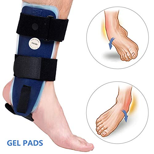 Gel Stirrups Ankle - Velpeau Ankle Brace - Stirrup Ankle Splint - Adjustable Rigid Stabilizer for Sprains, Strains, Post-Op Cast Support and Injury Protection (Gel Pads, Adults - Left Foot)