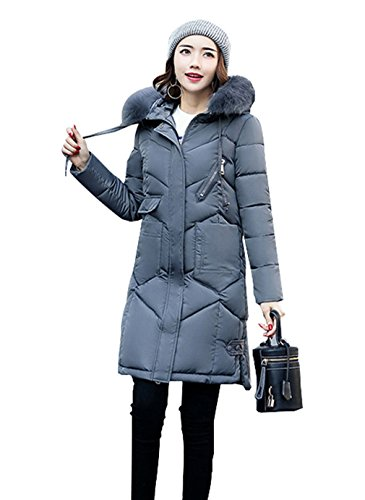 Deep Women Faux Grey COMVIP Jacket Quilted Fur Slim Puffer Long Coat Hood vqxUnpgB