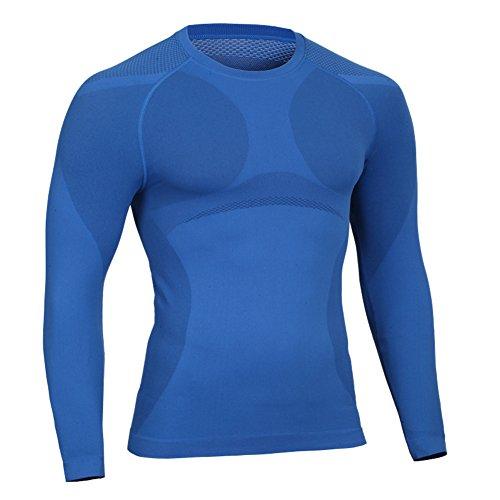 Prettywell Men's Body Shaper Quick Dry Corset Sports long Sleeve shirts MA01 Blue-XL