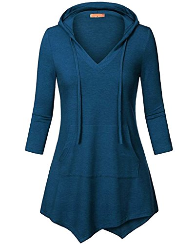 Women's 3/4 Sleeve Kangaroo Pocket Pullover Hoodies Shirts Casual Tunic Tops Blue - Website Fashion Fair