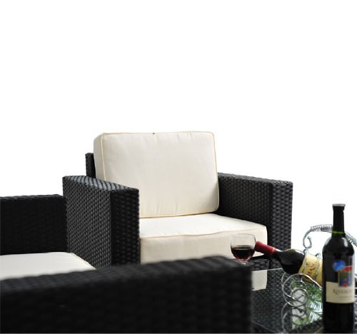 Outsunny 4-Piece Outdoor Rattan Wicker Sofa Sectional Patio Furniture Set