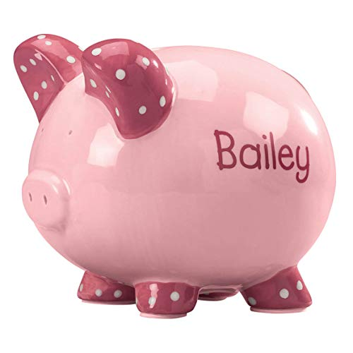 Personalized Kid's Font Piggy Bank - Pink by Miles Kimball (Image #1)
