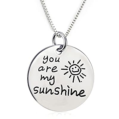 "You Are My Sunshine Pendant Necklace with a Heart charm (18"" chain included)"