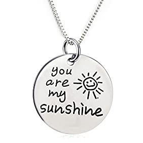 You Are My Sunshine Pendant Necklace with a Heart charm (18