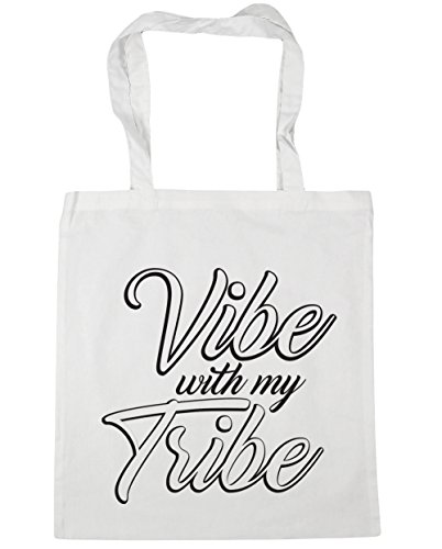 HippoWarehouse Vibe con mi tribu Tote Compras Bolsa de playa 42cm x38cm, 10litros blanco