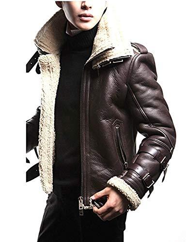 Unisex Moto Sheepskin Fur Double Collar Brown Aviator Bomber Leather Jacket XXS to 3XL (Lar-Jacket CHEST-48)