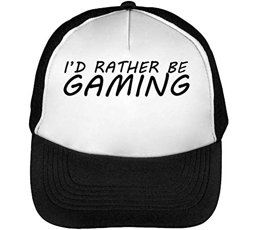 1GD I'D Rather Be Gaming Gorras Hombre Snapback Beisbol Negro Blanco