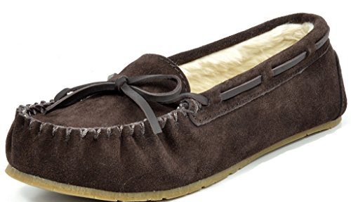 DREAM PAIRS SHOZIE-01 New Women's Winter Faux Fur Comfort Soft Slip On Lady Slipper Flats Shoes BROWN SIZE 7