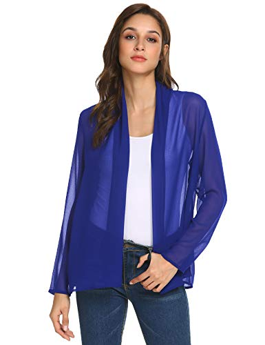- Concep Women's Beachwear Sheer Chiffon Kimono Cardigan Solid Casual Beach Cover up Blouse (Royal Blue, XL)