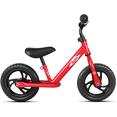 JOYSTAR 12 Inch Balance Bike for Boys & Girls 2 3 4 5 Years Old, Toddler Push Bike with Footboard & Handlebar Protect Pad, Child Glider Cycle, Kids Slider, Red