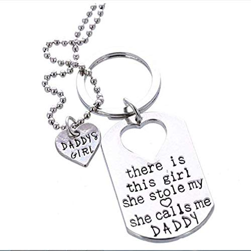 Noopvan Necklace Hot Letter Heart Keychain Key Ring Necklace Daddy Daughter Dad Father Girls (Silver)