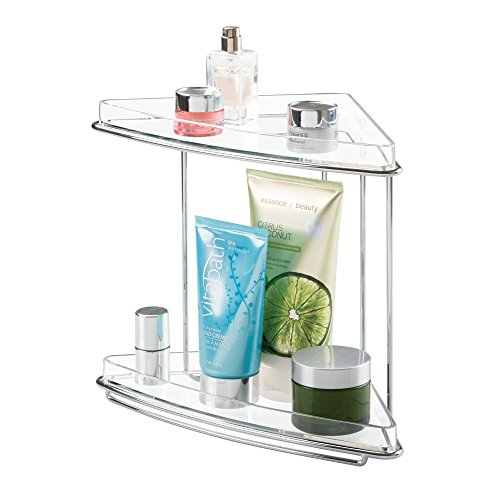 mDesign 2 Shelf Corner Storage Organizing Caddy Stand for Bathroom Vanity Countertops, Shelving or Under Sink – Free Standing, 2 Tiers - Steel Wire Frame in Chrome/Clear Shelves