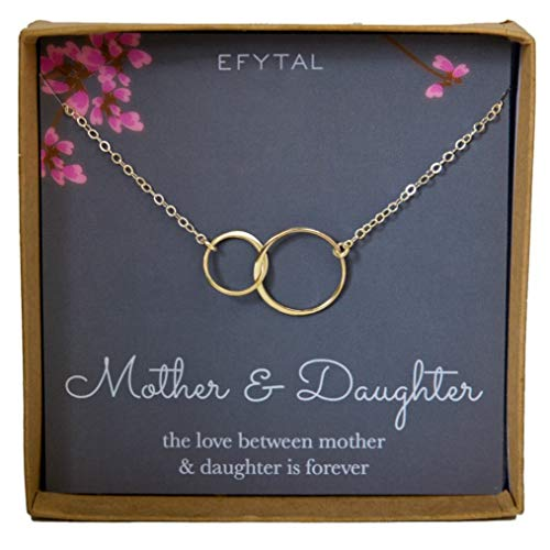 EFYTAL Mother Daughter Necklace, Goldtone Two Interlocking Infinity Circles, Mothers Day Jewelry Birthday Gift