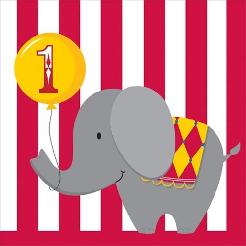 16-Count Paper Lunch Napkins, Circus Time 1st Birthday