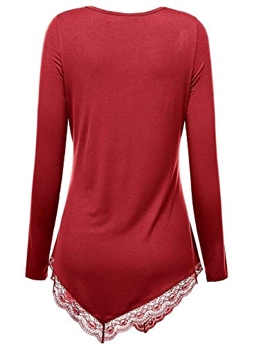 Pizzo Asimmetrici shirt Stile Collo Camicie Xl T Winered Lunghe Eleganti A Andre Bordi Schwarz Tinta Con color Di In E Scollo Unita Size 1 Maniche Speciale 0Zzwq