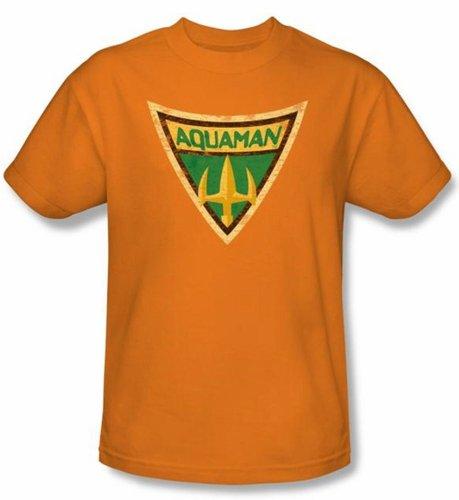 Trevco Batman Bb-Aquaman Shield - Short Sleeve Adult 18-1 Tee - Orange, 3X