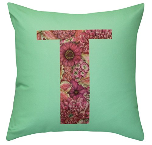 NikaGrace, Floral Letter T Throw Pillow Cover No Pillow Insert and Made in USA