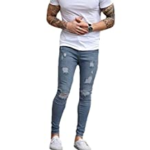 Men's Ripped Skinny Denim Jeans Slim Fit Stretch Pencil Pants