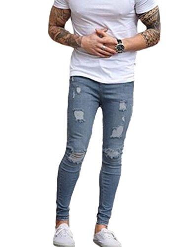Men's Ripped Skinny Denim Jeans Slim Fit Stretch Pencil Pants (W33, Light Blue)