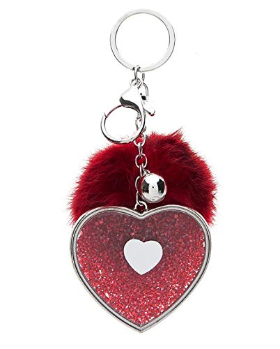 Treend24 - Llavero con Forma de corazón y pompón (imitación ...