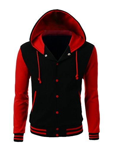 (Stylish Color Contrast Long Sleeves Hoodie Varsity Jacket Black Red M)