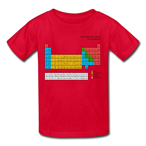 Spreadshirt Kids' Periodic Table T-Shirt, red, M
