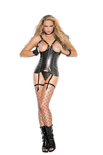 Cup Leather Corset (Elegant Moments Women's Open Cup Vinyl Zip Up Corset with G-String Black 38)