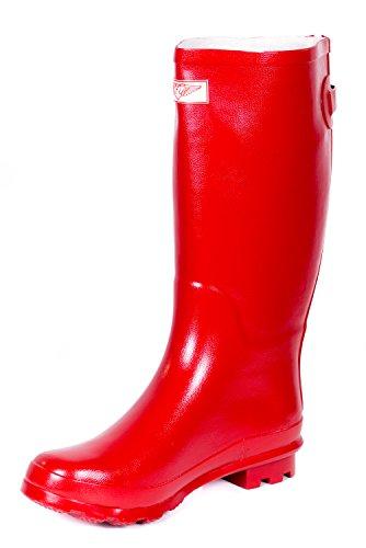 Donne Stivali Da Pioggia In Gomma Classici / Disegni Cerniera W Per Sempre Giovane Rosso