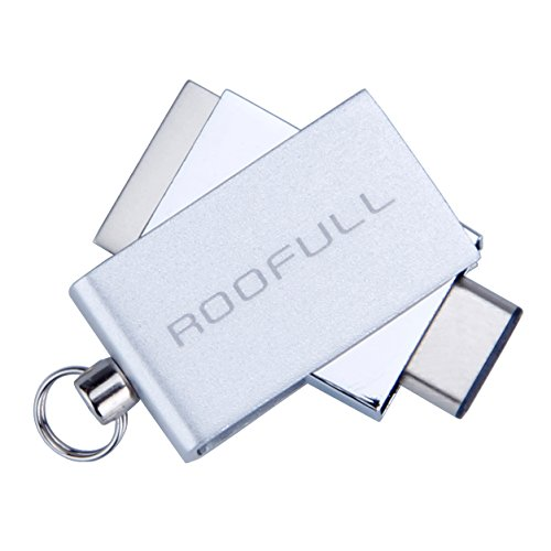 Mini USB 3.0 Type C Flash Drive, 64GB Rotatable Waterproof USB 3.0 & USB Type C Memory Stick for MacBook Android Phones Tablets by ROOFULL(Silver)
