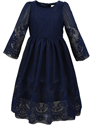Bonny Billy Girl's Kids Classy Embroidery Lace Maxi Flower Girl Dress 7-8 Years Navy (Girls Navy Blue Dress)