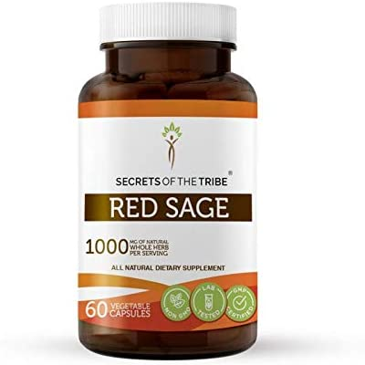 Red Sage 60 Capsules, 1000 mg, Organic Red Sage Dan Shen, Salvia Miltiorrhiza Dried Root 60 Capsules