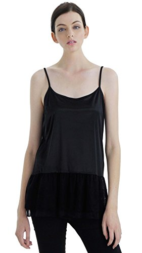 Melody [Shop Lev] Women's Satin Top Extender Camisole Slip With Circle Lace On The Bottom (Black, (Circle Lace)
