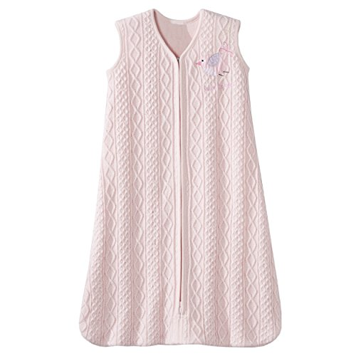 Halo Sleepsack Cable Knit Sweater Wearable Blanket, Pink Bird, Small
