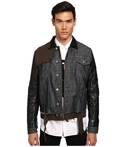 DSQUARED2 Men's Trench-Biker Jean Jacket, Blue/Green/Black 50 (US - Dsquared2 Leather Jeans