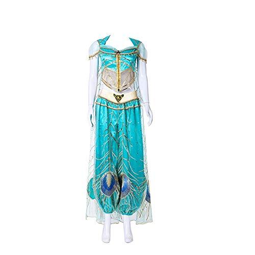 2019 New Movie Aladdin Jasmine Princess Embroidery Cosplay Costume for Adult Women Girls Halloween Costume Custom Made (Women Size,Small)]()