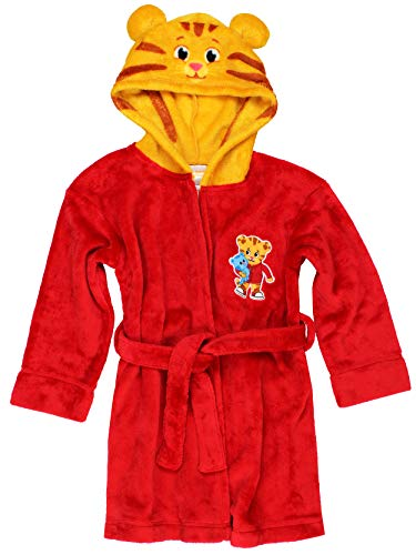 Daniel Tiger Toddler Boys Girls Hooded Plush Fleece Bathrobe Robe with Ears (3T, Red/Gold)]()