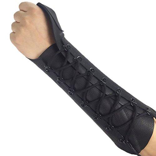 ArcheryMax Handmade Black Leather Arm Guard Bow Hand shooting Glove ,Left Hand