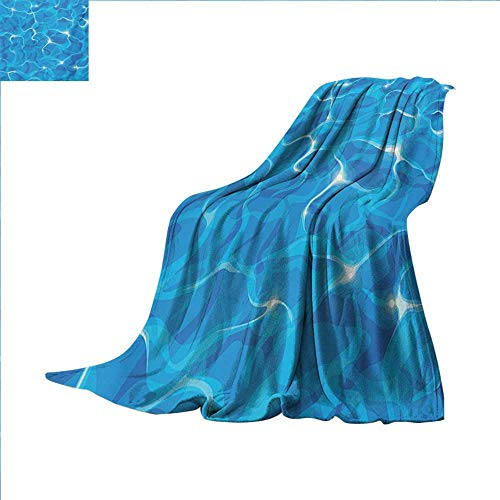 Aqua Super Soft Lightweight Blanket Realistic Vivid Illustration of Water Texture Freshness Ocean Pool Surface Waves Oversized Travel Throw Cover Blanket 70 x 60 inch Blue Aqua White ()
