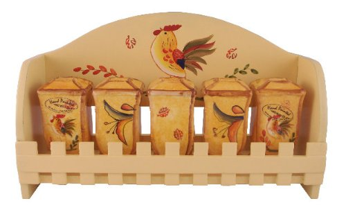 5PC SPICE RACK W/WOOD RACK BAMBOO ROOSTER SUNFLOWER