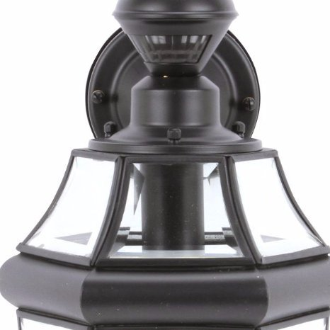 Secure Home Hanging Carriage 14.5-in H Black Motion Activated Outdoor Wall Light by Secure Home