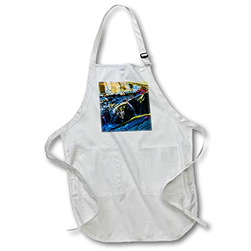 3dRose Alexis Photography - Nature Water - Colorful water of a small stream in the garden - Medium Length Apron with Pouch Pockets 22w x 24l (apr_272444_2)