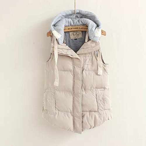 Pocket Color Down Women DYF Coat White Solid Sleeveless Hat Zipper Jacket Vest pYRgUa