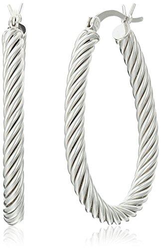 Sterling Silver Braided Oval Hoop Earrings