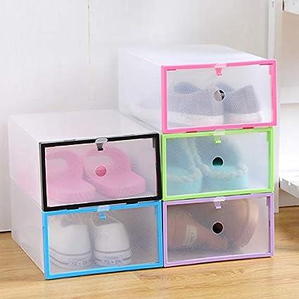 zhanlan Caja de Almacenamiento Transparente para Zapatos, 10 Piezas de Cristal Transparente, Caja de