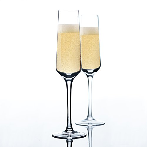 Tall Champagne Flute - Hand Blown Champagne Glasses - Set of 2 - 100% Lead Free Crystal Clear Champagne Flute Glasses, Perfect Party Cups