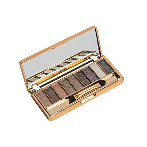 9 Colors Shimmer Eyeshadow Eye Shadow Palette & Makeup Cosmetic Brush Set -