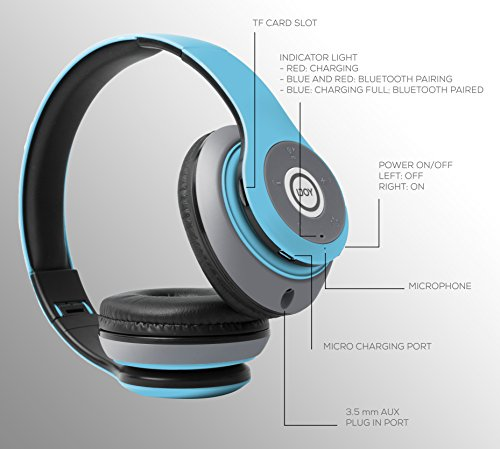 iJoy Matte Rechargeable Wireless Bluetooth Foldable Over Ear Headphones with Mic, Avatar by iJoy (Image #4)