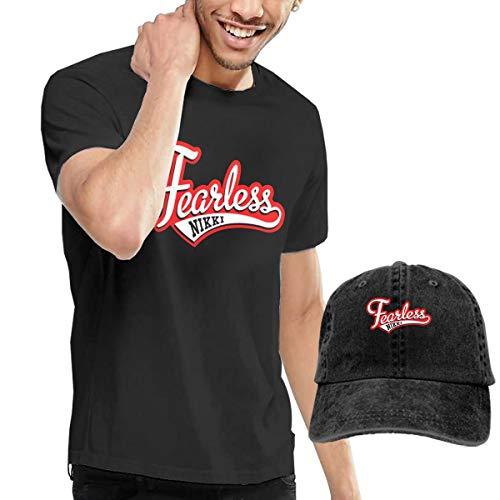 Nikki Bella Logo Fearless Racing Men's Cotton T-Shirt with Round Collar+Adjustable Baseball Cap -